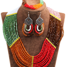 Fantastic Colorful Multi Layer Crystal Beads African Wedding / Party Jewelry Set (Necklace, Bracelet & Earrings)
