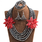 Sparkly Multi Layer Black Crystal Beads African Wedding Jewelry Set With Statement Red Crystal Flower (Necklace, Bracelet & Earrings)