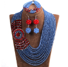 Beautiful Ethnic Style 10-Row Blue & Red & Gray Crystal Beads African Wedding Jewelry Set (Necklace, Bracelet & Earrings)