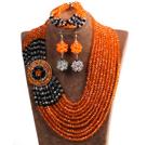Beautiful Ethnic Style 10-Row Orange & Black & White Crystal Beads African Wedding Jewelry Set (Necklace, Bracelet & Earrings)