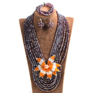 Statement Party Style Multi Layer Purple Crystal Beads African Costume Jewelry Set With Big Flower (Necklace, Bracelet & Earrings)