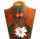 Elegant Multi Layer Orange & Green Crystal Beads Costume Jewelry Set with Statement White Shell Flower (Necklace, Bracelet & Earrings)