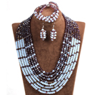 Trendy Party Style Multi Layer Purple & White Crystal African Wedding Jewelry Set (Necklace, Bracelet & Earrings)
