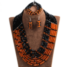 Trendy Party Style Multi Layer Orange & Black Crystal African Wedding Jewelry Set (Necklace, Bracelet & Earrings)