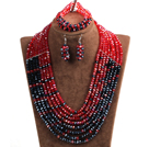 Trendy Party Style Multi Layer Red & Black Crystal African Wedding Jewelry Set (Necklace, Bracelet & Earrings)