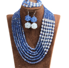 Fabulous Multi Layer Blue & White Crystal Beads African Costume Jewelry Set (Necklace, Bracelet & Earrings)