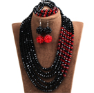 Fabulous Multi Layer Black & Red Crystal Beads African Costume Jewelry Set (Necklace, Bracelet & Earrings)