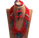 Popular Style Multi Layer Bright Red & Black Crystal African Wedding Jewelry (Necklace, Bracelet & Earrings)