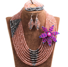 Chic Style Multi Layer Pink & Silver Crystal Beads African Wedding Jewelry Set With Statement Crystal Flower (Necklace, Bracelet & Earrings)
