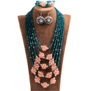 Fabulous Multi Layer Pink Crystal Ball Lake Green Crystal Beads Costume Jewelry Set (Necklace, Bracelet & Earrings)