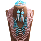 Splendid 8-Row Pink & Blue Crystal Beads African Wedding Jewelry Set (Necklace, Bracelet & Earrings)
