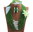 Chic Style Multi Layer Green & White Crystal Beads African Wedding Jewelry Set With Statement Crystal Flower (Necklace, Bracelet & Earrings)