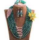 Chic Style Multi Layer Dark Green & Pink Crystal Beads African Wedding Jewelry Set With Statement Crystal Flower (Necklace, Bracelet & Earrings)