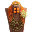 Popular Style Multi Layer Orange & Green Crystal Beads African Wedding Jewelry Set with Statement Crystal Flower (Necklace, Bracelet & Earrings)