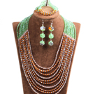 Fashion Shining 10-Row Orange Green Pink & Silver Crystal Beads African Wedding Jewelry Set (Necklace, Bracelet & Earrings)