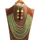 Fashion Shining 10-Row Yellow Brown Green & Silver Crystal Beads African Wedding Jewelry Set (Necklace, Bracelet & Earrings)