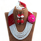 Fashion Multi Layer White & Red Crystal Beads African Wedding Jewelry Set with Statement Crystal Flower (Necklace, Bracelet & Earrings)