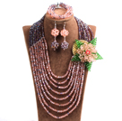 Classic Style Multi Layer Pink & Purple Crystal Beads African Wedding Jewelry Set With Statement Crystal Flower (Necklace, Bracelet & Earrings)