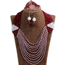 Special Design Terrific Dark Red & White Crystal Beads African Wedding Jewelry Set (Necklace, Bracelet & Earrings)