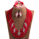 Beautiful Design Multi Layer Red & White Crystal Beads African Wedding Jewelry Set (Necklace, Bracelet & Earrings)