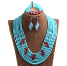 Beautiful Design Multi Layer Blue & Red Crystal Beads African Wedding Jewelry Set (Necklace, Bracelet & Earrings)