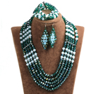 Vintage Style Dark Green & White Crystal Beads African Costume Jewelry Set (Necklace, Bracelet & Earrings)