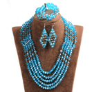 Vintage Style Blue & Brown Crystal Beads African Costume Jewelry Set (Necklace, Bracelet & Earrings)