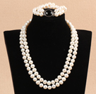 Gorgeous Mother Gift Double Strand 9-10mm Natural White Pearl Wedding Jewelry Set With Black Agate Clasp (Necklace & Bracelet)