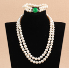 Gorgeous Mother Gift Double Strand 9-10mm Natural White Pearl Wedding Jewelry Set With Green Agate Clasp (Necklace & Bracelet)