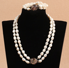 Gorgeous Mother Gift Double Strand Natural White Oblate Baroque Pearl Wedding Jewelry Set (Necklace & Bracelet)