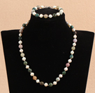 Graceful 7-8mm Natural White Freshwater Pearl Indian Agate Party Jewelry Set (Necklace & Bracelet)