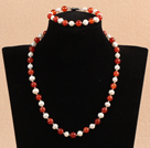 Graceful 7-8mm Natural White Freshwater Pearl Red Agate Party Jewelry Set (Necklace & Bracelet)
