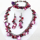 Purple Red Series gefärbt Lila Red Pearl Shell Set (Halskette Armband und Ohrringe Matched)