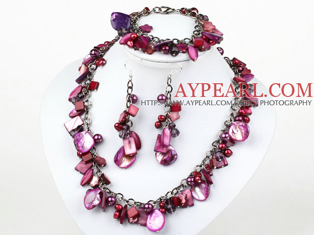 Purple Red Series Dyed Purple Red Pearl Shell Set ( Necklace Bracelet and Matched Earrings )