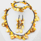 Yellow Series gefärbt Yellow Pearl Shell Set (Halskette Armband und Ohrringe Matched)