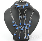 New Design Tropfenkonturanalyse Sea Blue Crystal Set (Halskette und Ohrringe Matched)