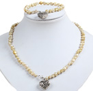 Classic Simple Design Potato Shape Champagne Pearl Necklace & Bracelet Set With Heart Charm