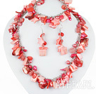 Hot Pink Series Hot Pink Pearl Shell and Cherry Quartz Set ( Necklace Bracelet and Matched Earrings )