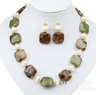 Wholesale White Freshwater Pearl and Green Opal Set ( Necklace and Matched Earrings )