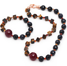 Assorted Faceted Blue Sandstone and Tiger Eye and Black Agate Set ( Necklace and Matched Bracelet )