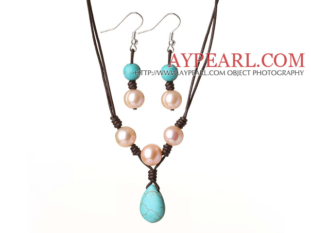 Cute Simple Design Pink Freshwater Pearl and Turquoise Leather Jewelry Set (Necklace with Matched Earrings)