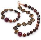 Brown Series Tiger Eye and Stripe Agate Set ( Necklace and Matched Bracelet)