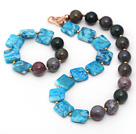 Wholesale Assorted Square Shape Blue Agate and Round Indian Agate Set ( Necklace and Matched Bracelet )