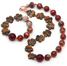 Wholesale Red Series Assorted Red Jasper and Tiger Eye and Hot Pink Agate Set ( Necklace and Matched Bracelet )