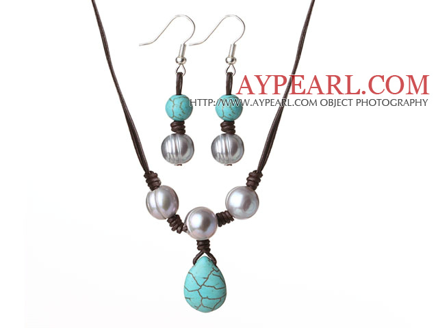 Cute Simple Design Grey Freshwater Pearl and Turquoise Leather Jewelry Set (Necklace with Matched Earrings)