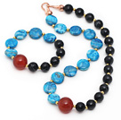 Wholesale Assorted Blue Agate and Black Stripe Agate Set ( Necklace and Matched Bracelet )