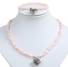 Classic Simple Design Potato Shape Cute Pink Pearl Necklace & Bracelet Set With Heart Charm