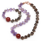 Incidence Angle Amethyst and Smoky Quartz and Carnelian Set ( Necklace and Matched Bracelet )