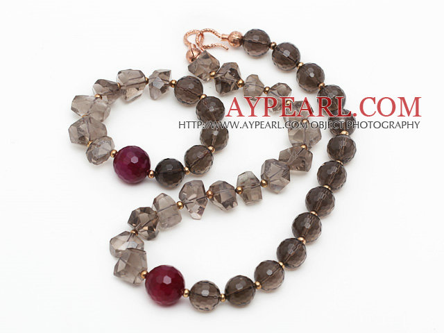 Gray Series Incidence Angle Smoky Quartz Set ( Necklace and Matched Bracelet )