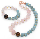 Wholesale Incidence Angle Rose Quartz and Tiger Eye and Aquamarine Set ( Necklace and Matched Bracelet )